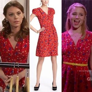 Beautiful retro Anthropologie red floral dress